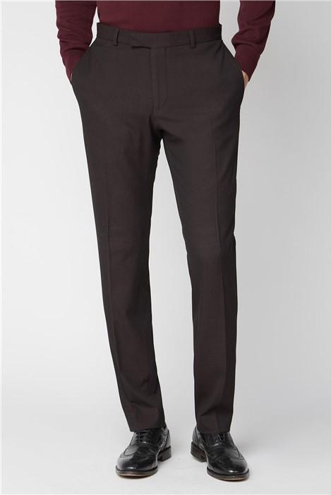 Limehaus Burgundy Texture Slim Suit Trousers