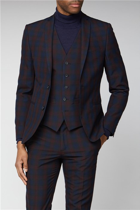 Limehaus Navy Burgundy Check Skinny Suit