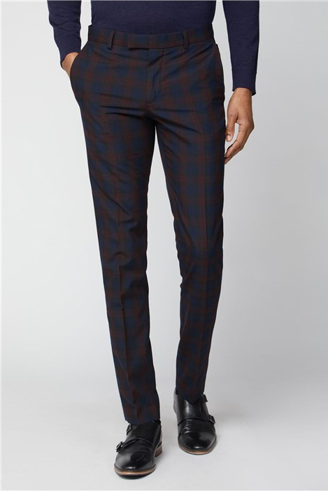 Limehaus Navy Burgundy Check Skinny Trousers