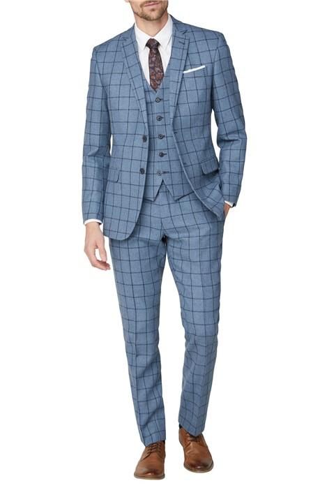 Racing Green Blue Windowpane Heritage Tweed Suit