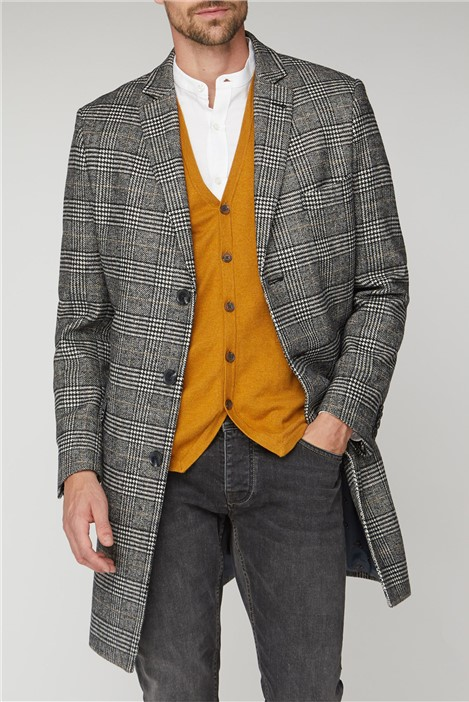 Racing Green Prince of Wales Check Overcoat