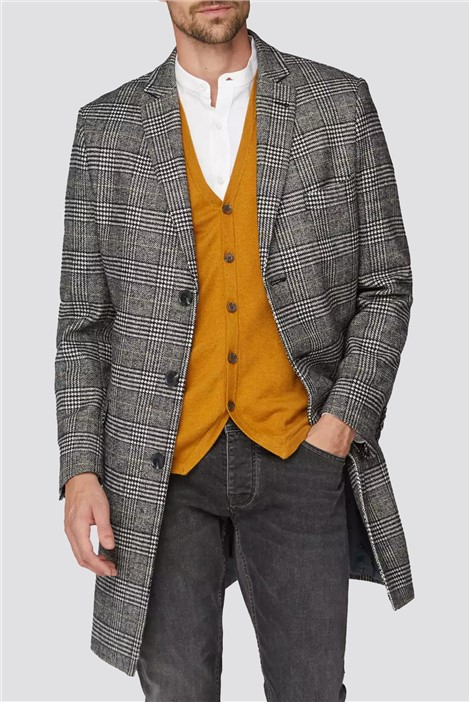 Racing Green Prince of wales check caramel overcoat
