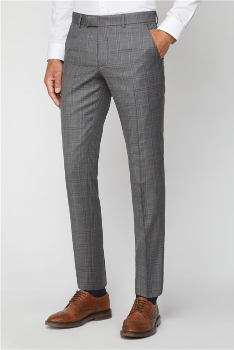 Alexandre of England Grey Rust Check Regular Fit Suit Trouser