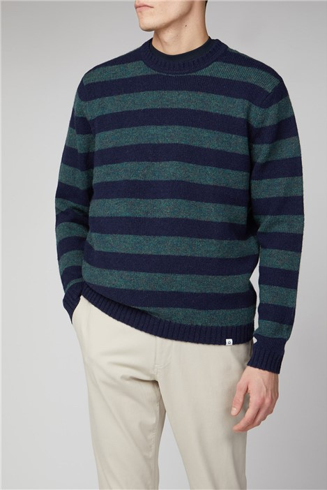 Melka Roxen Navy Lambswool Stripe Crew Neck