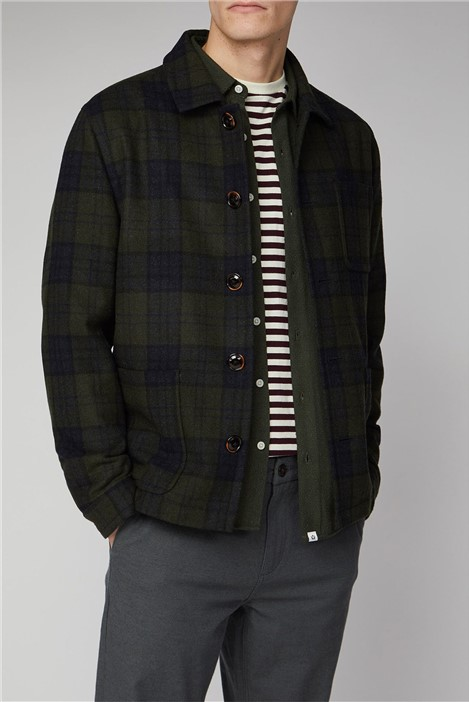 Melka Ursholmen Green Wool Blend Check Jacket