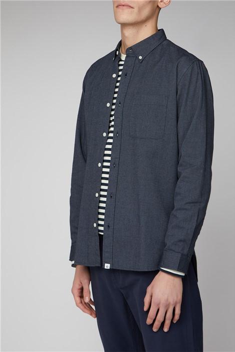 Melka Maltan Navy Long Sleeve Semi Plain Shirt