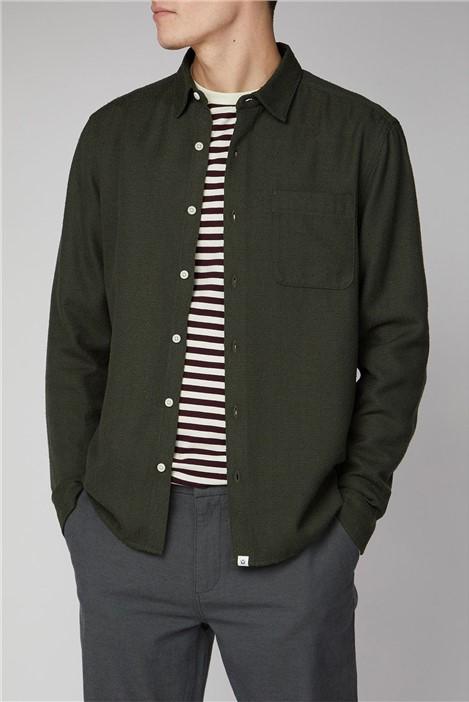 Melka Arvika Olive Green Long Sleeve Loop Texture Shirt