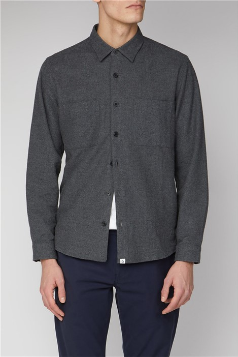 Melka Uppsala Grey Long Sleeve Plain Flannel Shirt