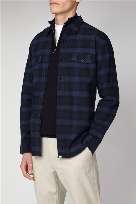 Melka Kiruna Navy Long Sleeve Mid Scale Check Shirt