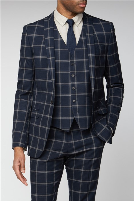 Limehaus Navy Stone Check Slim Fit Suit