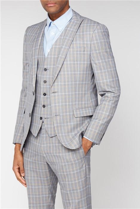 Ben Sherman Grey Orange Bold Check Skinny Fit Suit