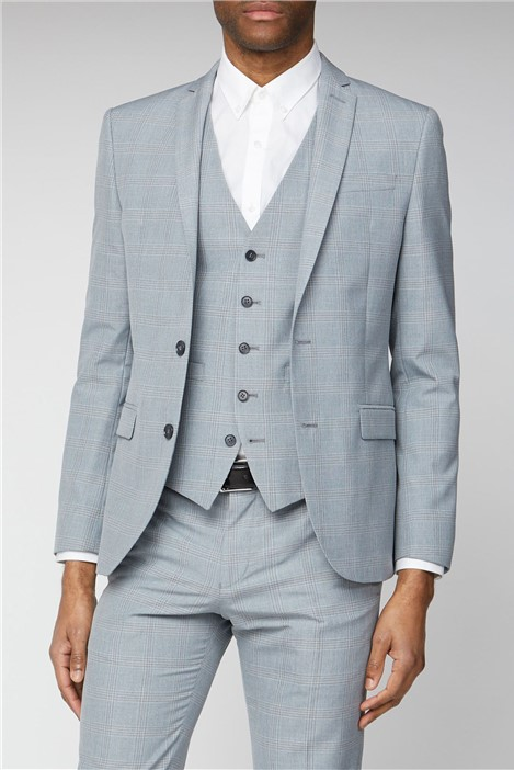 Ben Sherman Light Grey and Blue Check Skinny Fit Suit