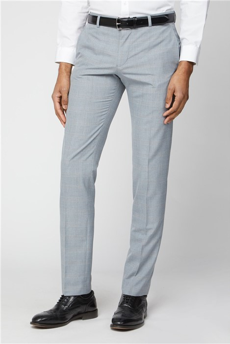 Ben Sherman Light Grey and Blue Check Skinny Fit Suit Trouser