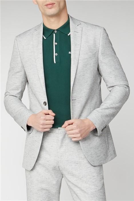 Ben Sherman Grey Linen Texture Slim Fit Suit