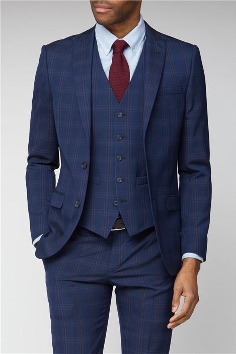 Ben Sherman Navy Pink Bold Check Suit