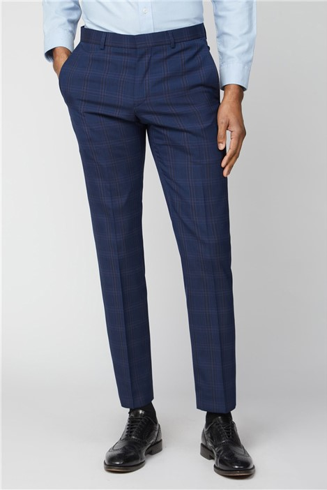 Ben Sherman Navy Pink Bold Check Slim Fit Trousers