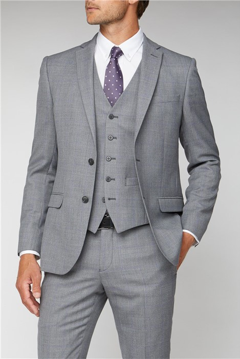 Ben Sherman Grey Windowpane Check Tailored Fit Suit