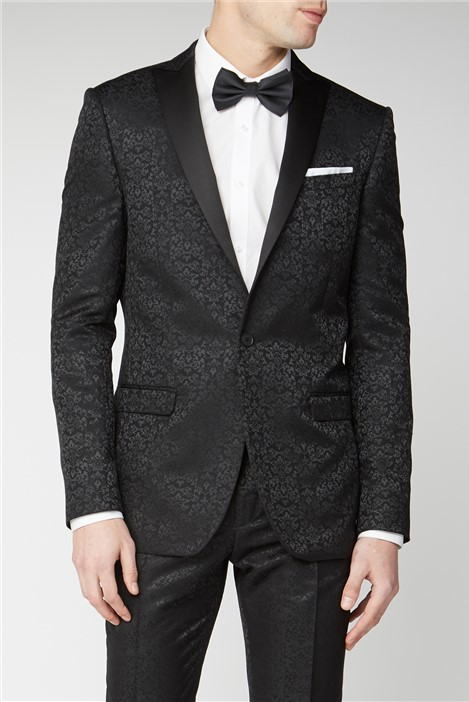 Limehaus Black Tonal Jacquard Slim Fit Suit Jacket