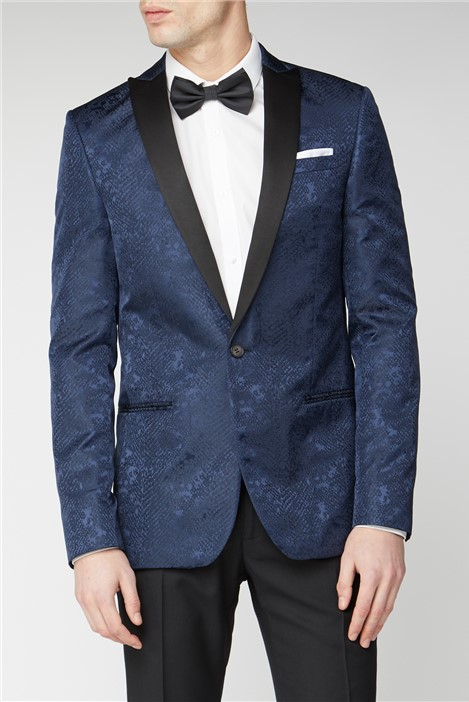 Limehaus Navy Snake Jacquard Slim Fit Suit Jacket