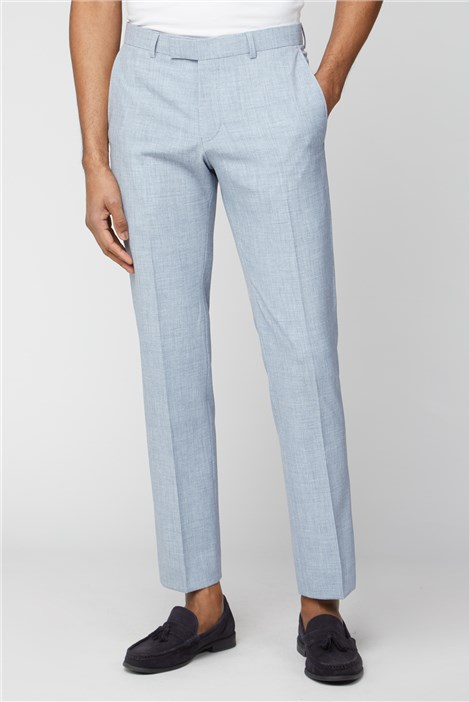 Limehaus Pale Blue Slim Fit Suit Trousers