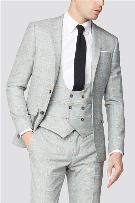 Limehaus Grey Blue Check Suit Jacket