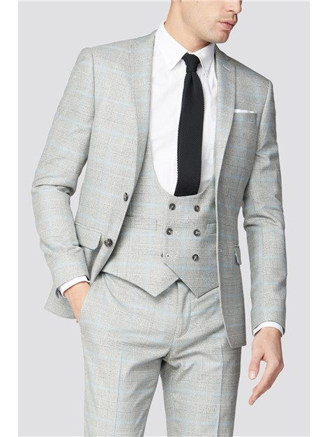 Limehaus Grey Blue Check Suit