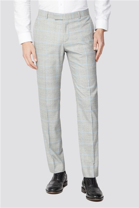 Limehaus Grey Blue Checked Suit Trousers