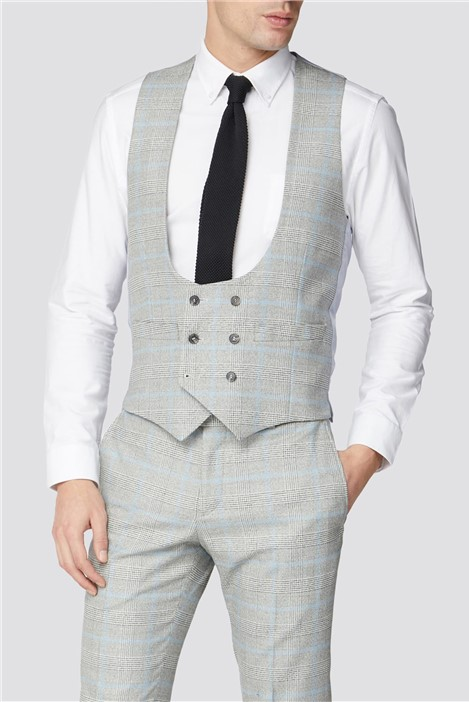 Limehaus Grey Blue Checked Double Breasted Waistcoat
