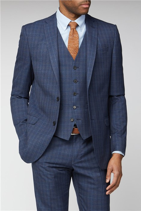 Limehaus Navy Heritage Check Slim Fit Suit