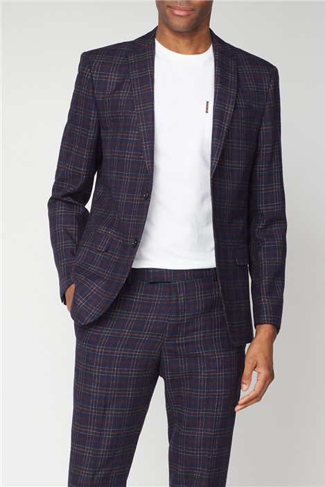 Limehaus Navy Burgundy Bold Check Slim Fit Suit