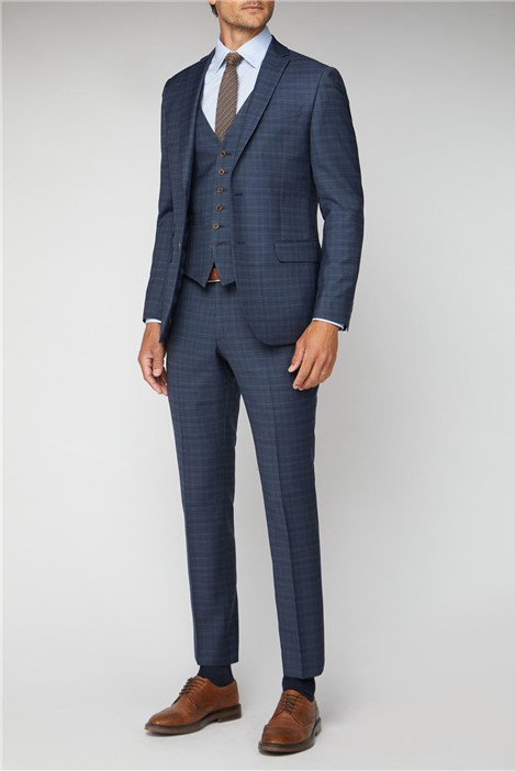 Racing Green Navy Heritage Check Tailored Fit Suit