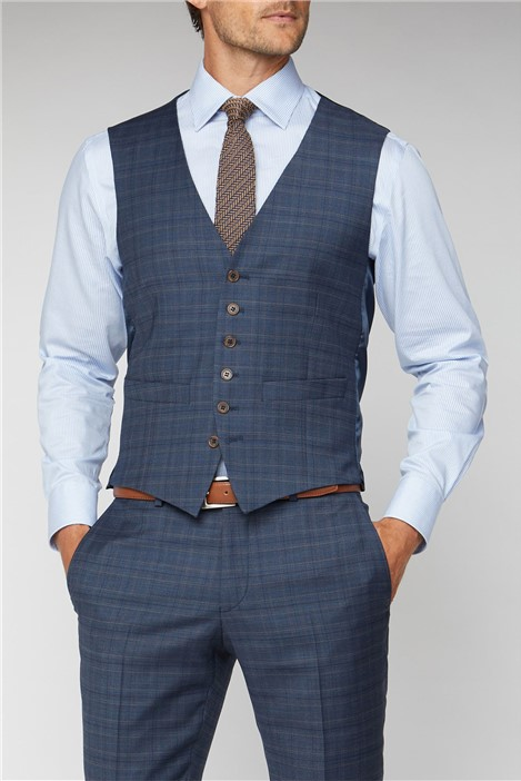 Racing Green Navy Heritage Check Tailored Fit Waistcoat
