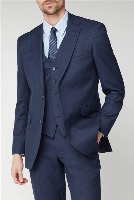 Racing Green Blue Texture Birdseye Performance Regular Fit Suit