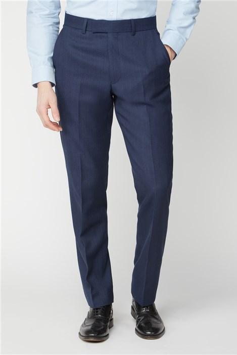 Racing Green Blue Texture Birdseye Performance Regular Fit Suit Trouser