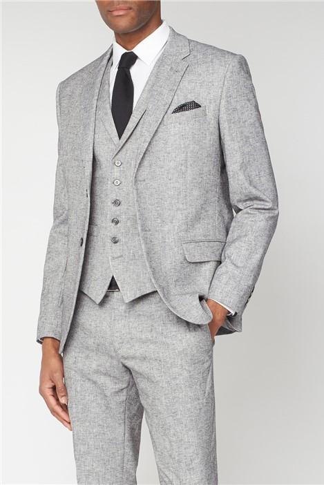 Racing Green Grey Textured Linen Look Tailored Fit Suit Jacket