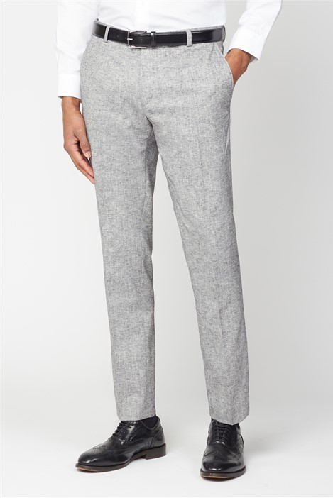 Racing Green Grey Textured Linen Look Tailored Fit Suit Trouser