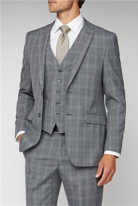 Scott & Taylor Grey Check Regular Fit Suit