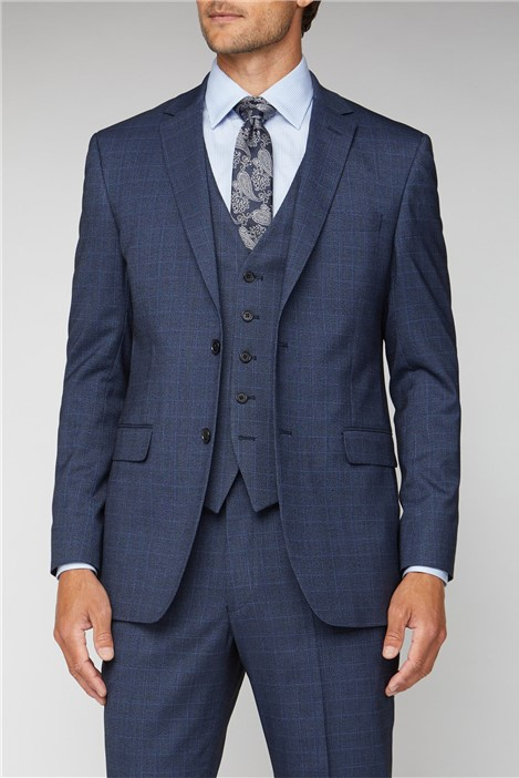 Scott & Taylor Navy Tonal Check Regular Fit Suit