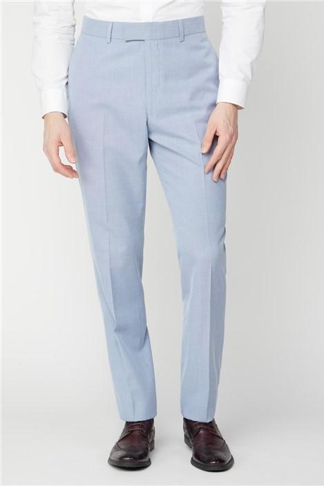 Scott & Taylor Ice Blue Linen Look Regular Fit Suit Trousers
