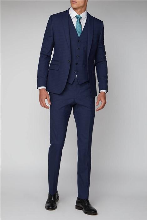 Ben Sherman Blue Micro Check Skinny Fit Suit