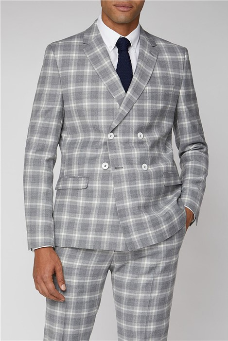 Limehaus Grey Check Double Breasted Slim Fit Suit