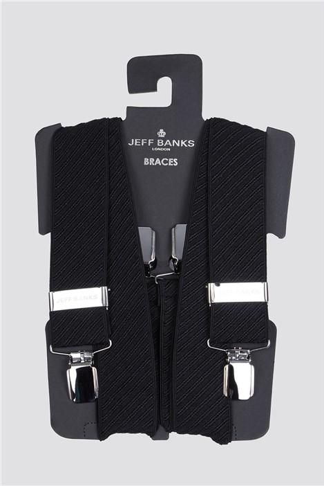 Jeff Banks Black Diagonal Texture Braces