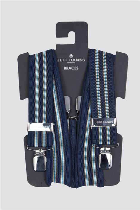 Jeff Banks Navy Stripe Braces