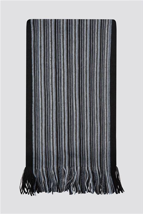 Scott & Taylor Grey Blue Striped Scarf
