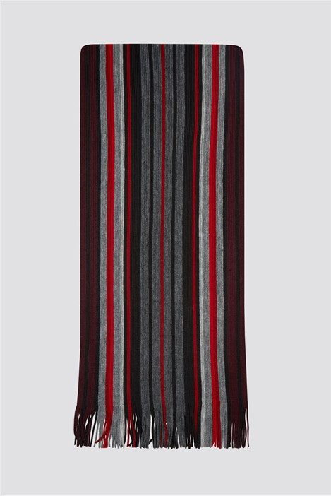 Scott & Taylor Grey Red Striped Scarf