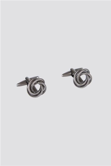 Scott & Taylor Matte Silver Swirl Cufflinks