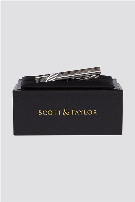 Scott & Taylor Silver Stripe Tie Bar