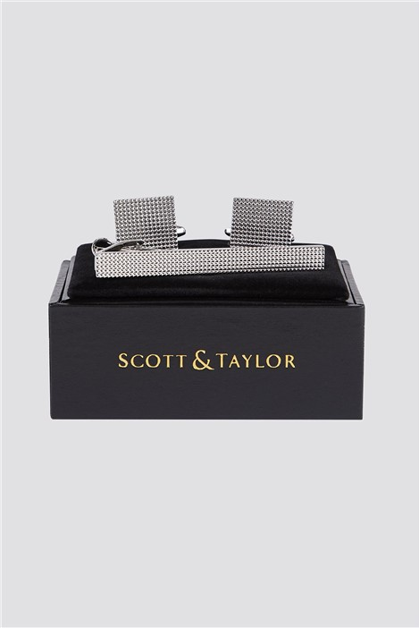 Scott & Taylor Silver Textured Cufflink & Tie Bar Set