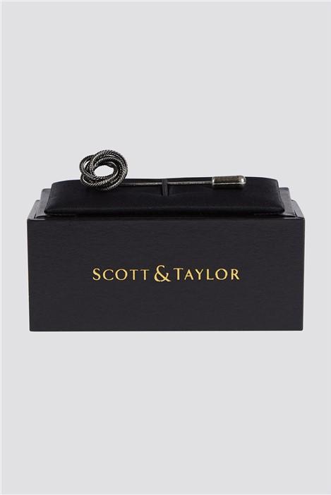 Scott & Taylor Matte Silver Swirl Lapel Pin