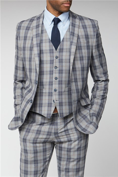 Limehaus Grey Blue Check Slim Fit Suit